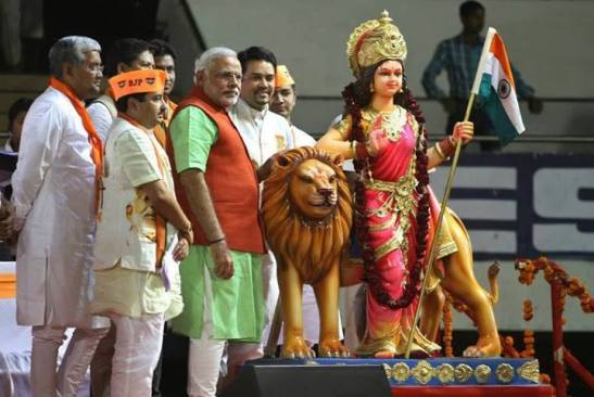 Figure 6: Modi with a statue of Bharat Mata 2013.