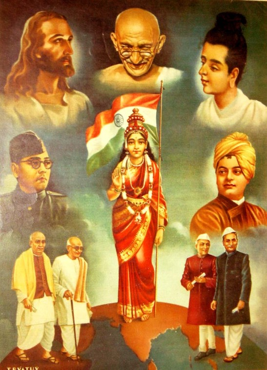Figure 5: Bharat Mata, accompanied by Christ, the Buddha,  Swami Vivekananda, Bose, Jinnah, Gandhi, and Nehru